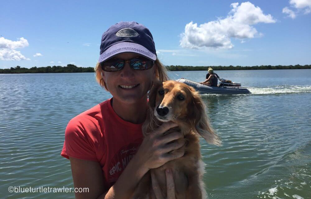 Sophie and I on the dinghy ride to the beach