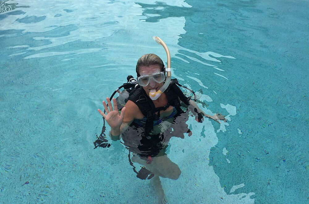 We tested our dive gear out in the marina pool