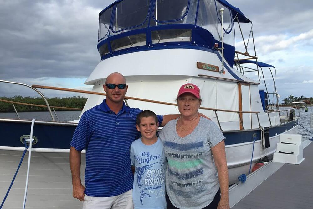 Randy's mother, Carol, visits us at the marina