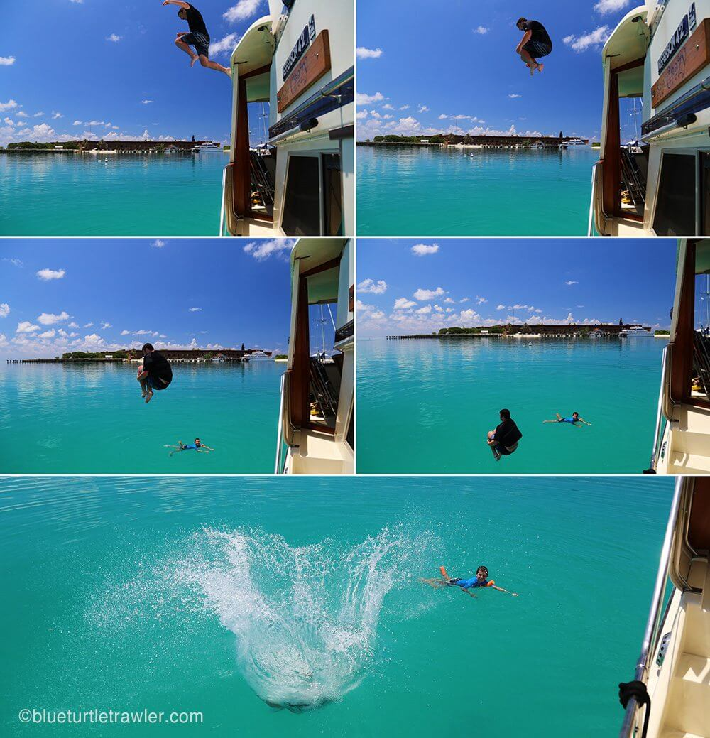 Jumping off boat