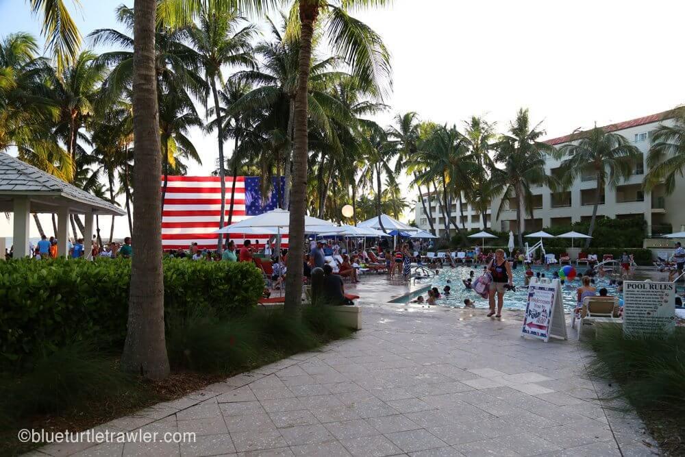 Resort pool area and huge American flag