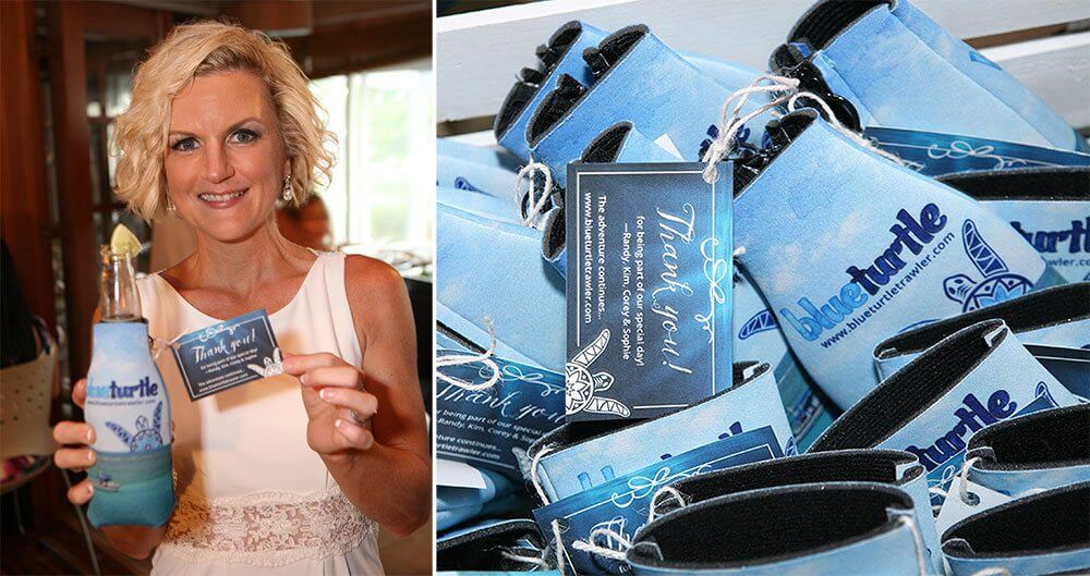 Wedding party favors — Blue Turtle koozies