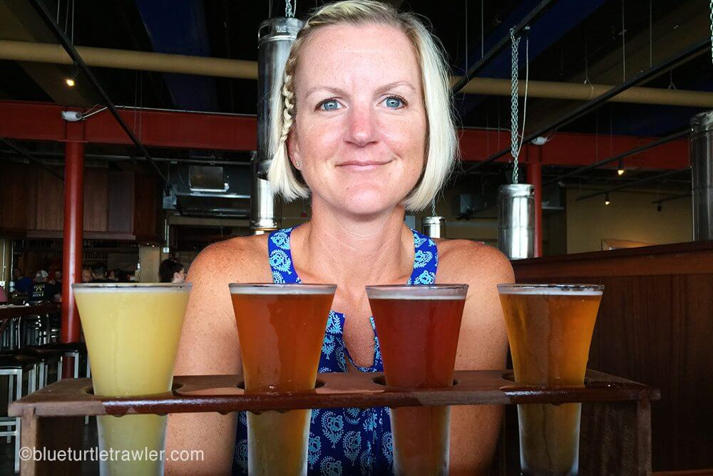 I ordered a flight of beer to try the brews at Waterfront Brewery