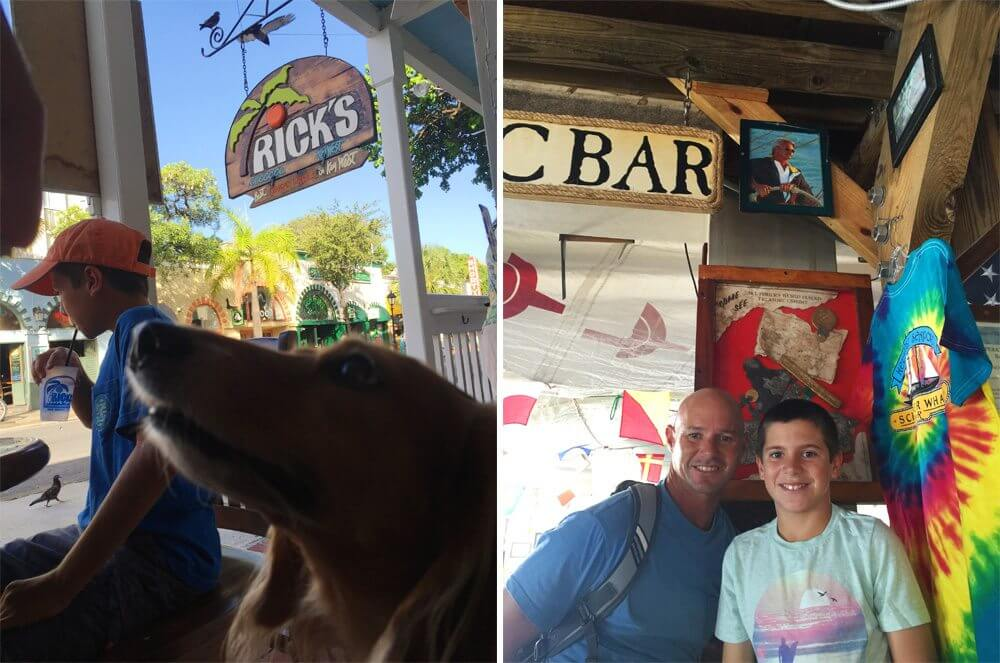Weiner dog nose and Ricks sign (on left); The boys pose with our friend Tim's brothers photo in The Schooner Wharf Bar