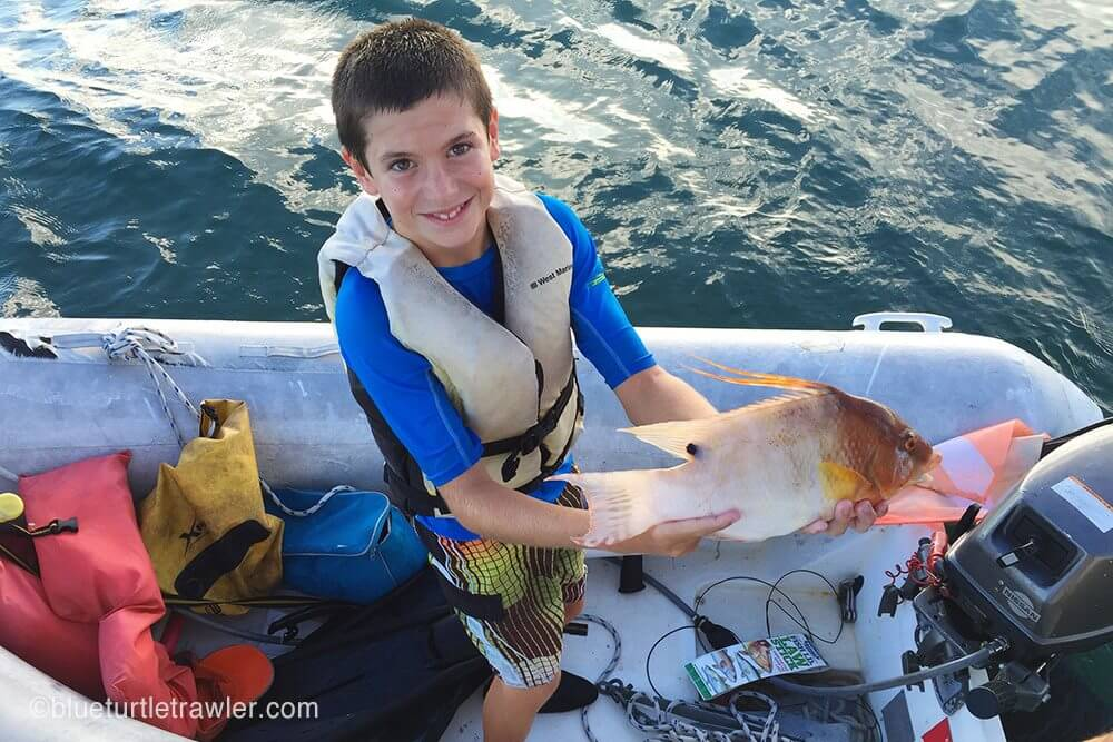 Corey shows me one of the Hogfish he speared