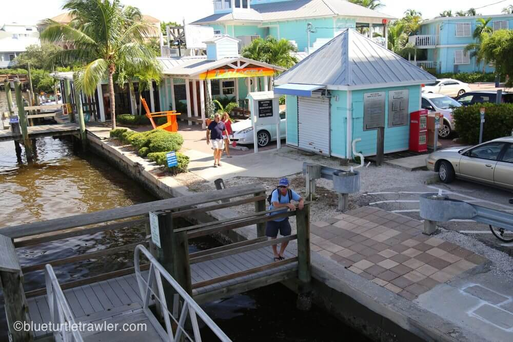 View of Matanzas Inn restaurant and part of the dinghy docks