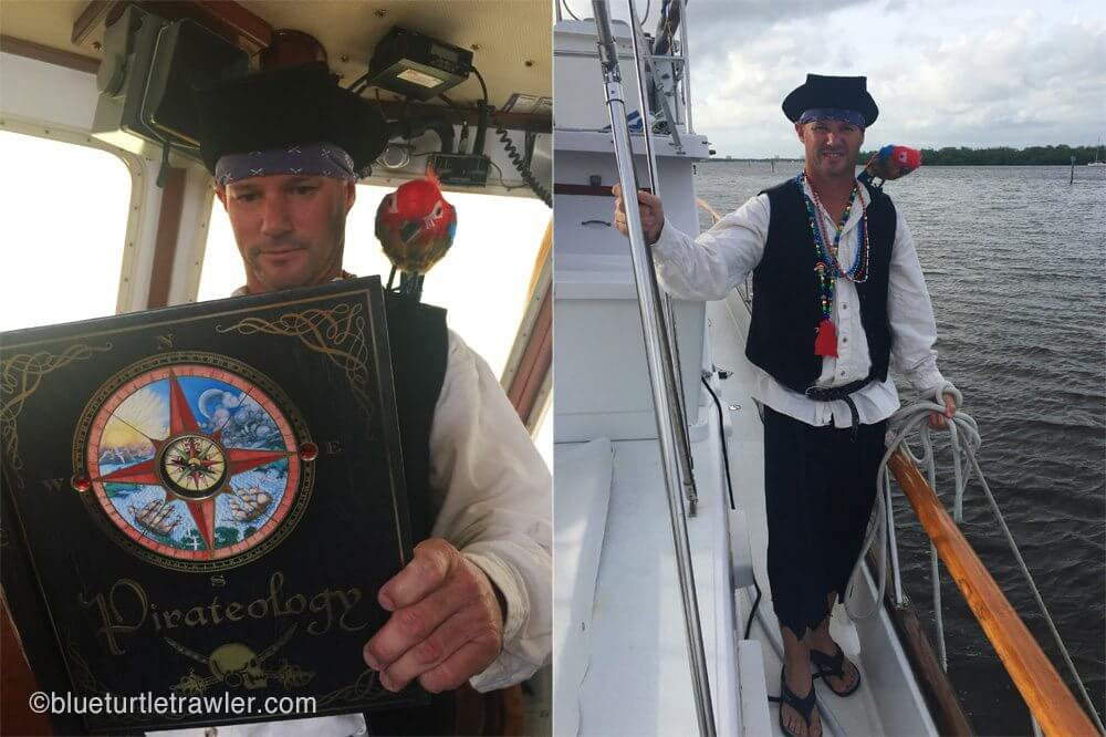 """(Left) Randy reads up on his """"Pirateology""""; (right) preparing to get in the dinghy for the ride"""