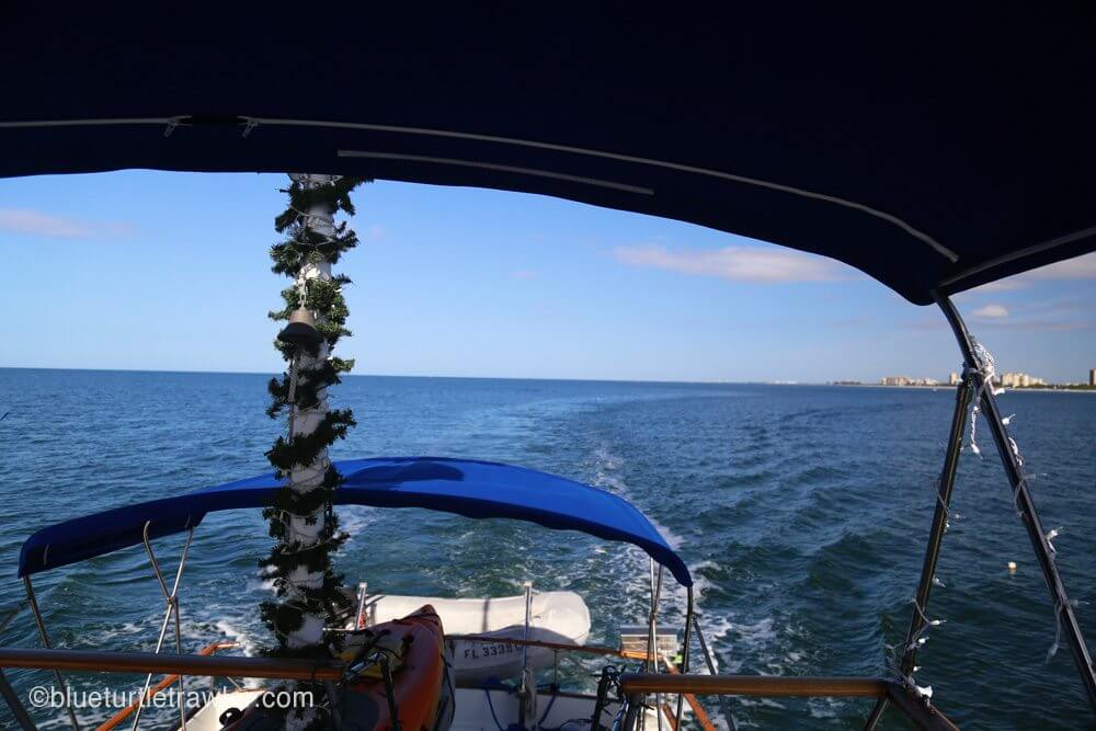 A gorgeous view and garland wrapped mast