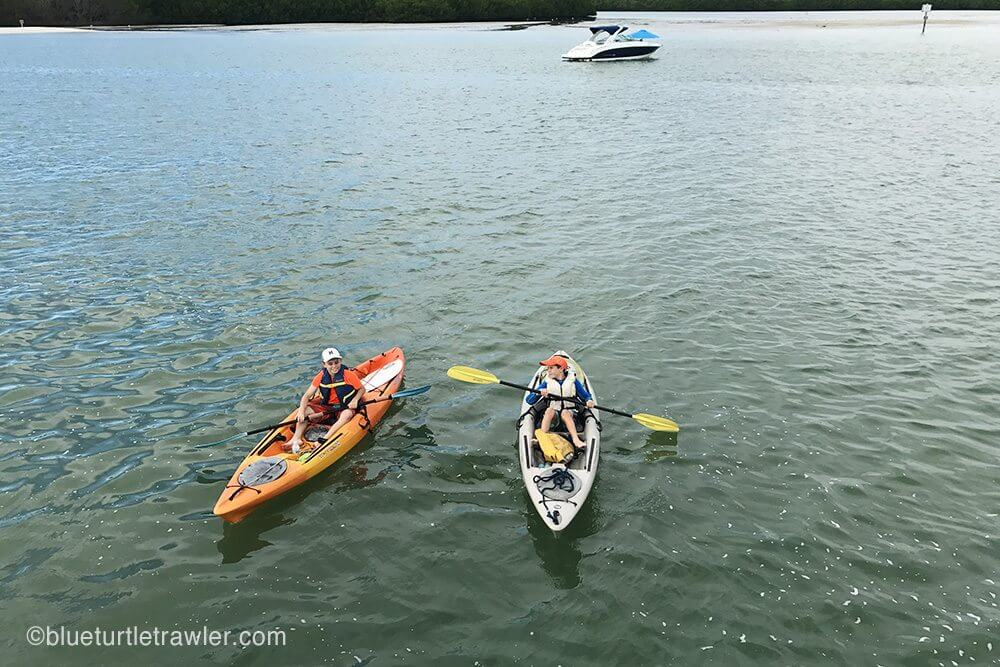 The boys returning from a day of kayaking