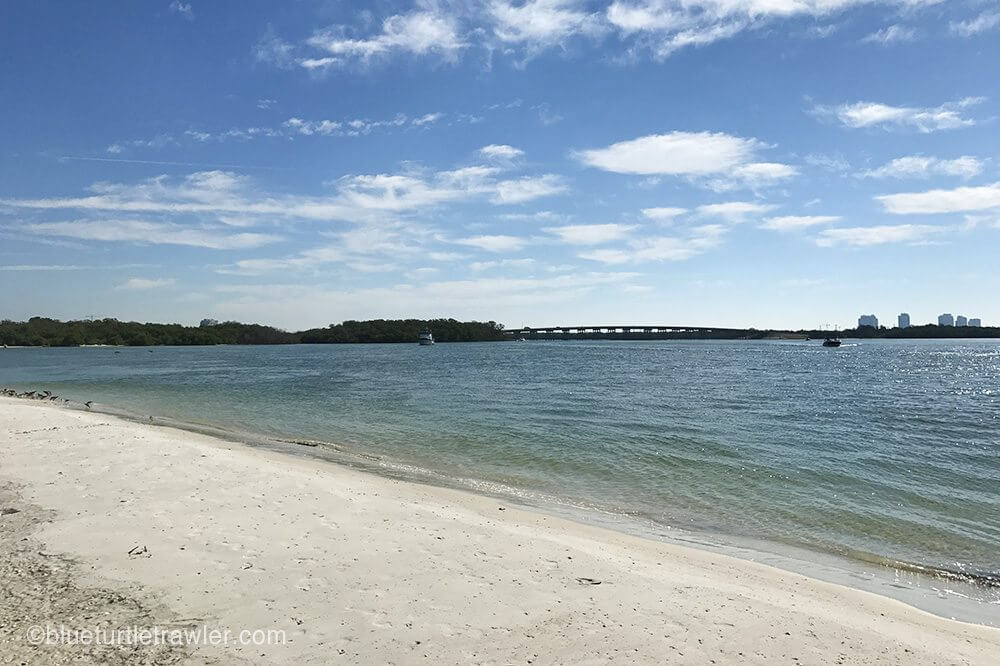 Randy and I took the dinghy to Lovers Key beach to walk