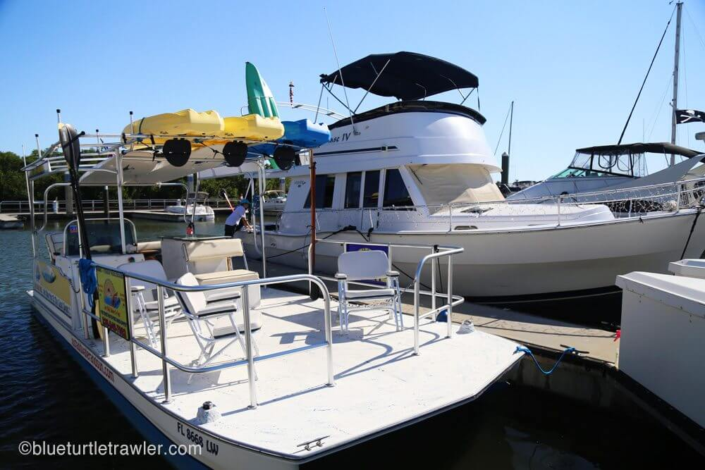 Visiting with our friend Joe at his boats—on right Phase IV, left is Jaybird II his charter boat