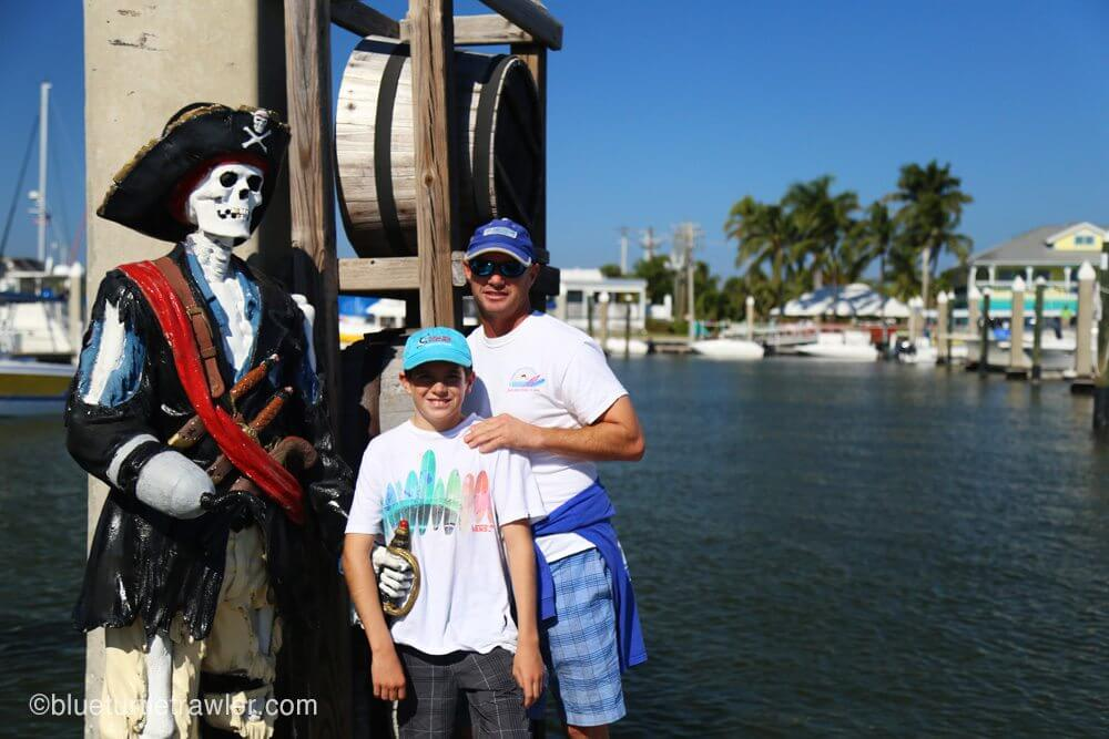 ARGH!!! Posing next to the pirate and pirate ship, Pieces of Eight