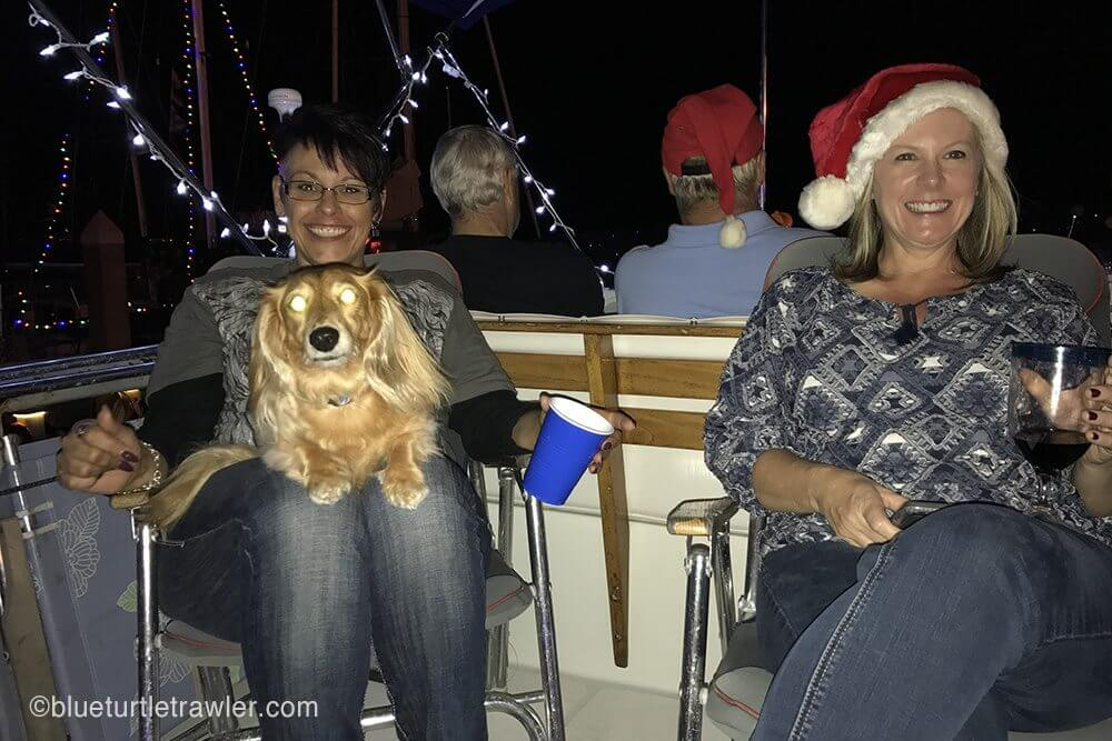 Marcia (left) and Tracy (my sister) with what appears to be a demon wiener dog