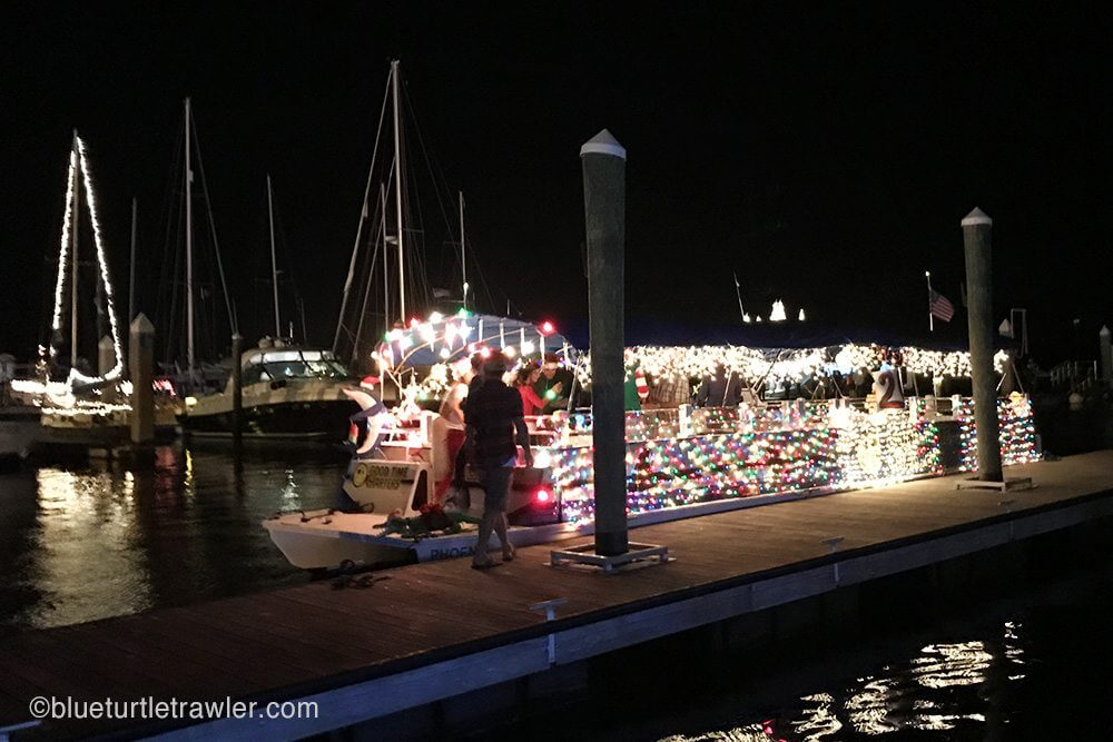 The Goodtime Charters boat all lit up