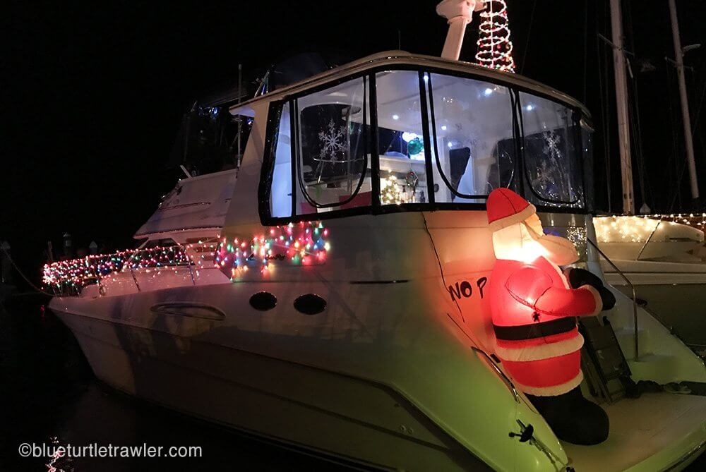 A festive Santa on the stern of this boat