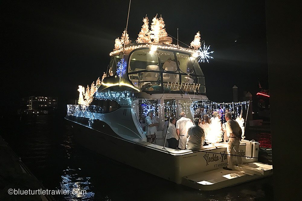 The White Christmas boat with full lights