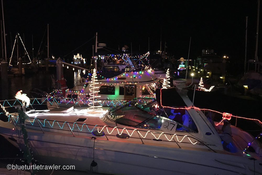 Lighted boats along our dock