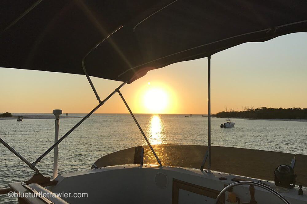 viewing sunset from trawler