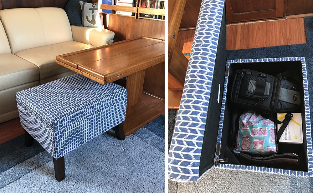 boat interior storage ideas storage ottoman