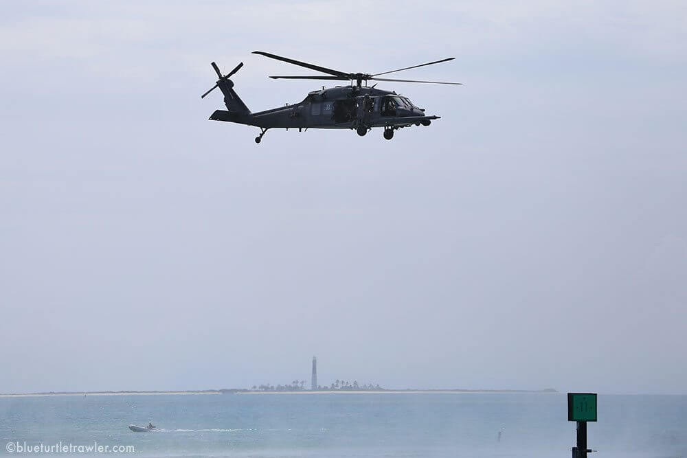Air Force Pavehawk landing at Dry Tortugas