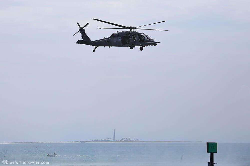 Air Force Pavehawk landing at Dry Tortugas