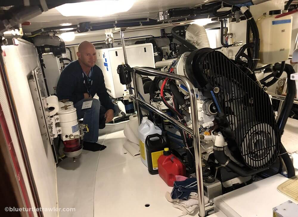 Randy checks out the engine room on a Kadey-Krogen