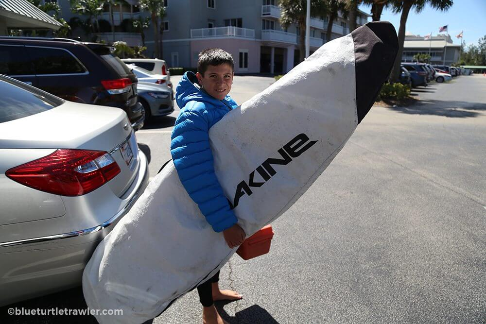 Surfs up! Corey finds time to kit the waves