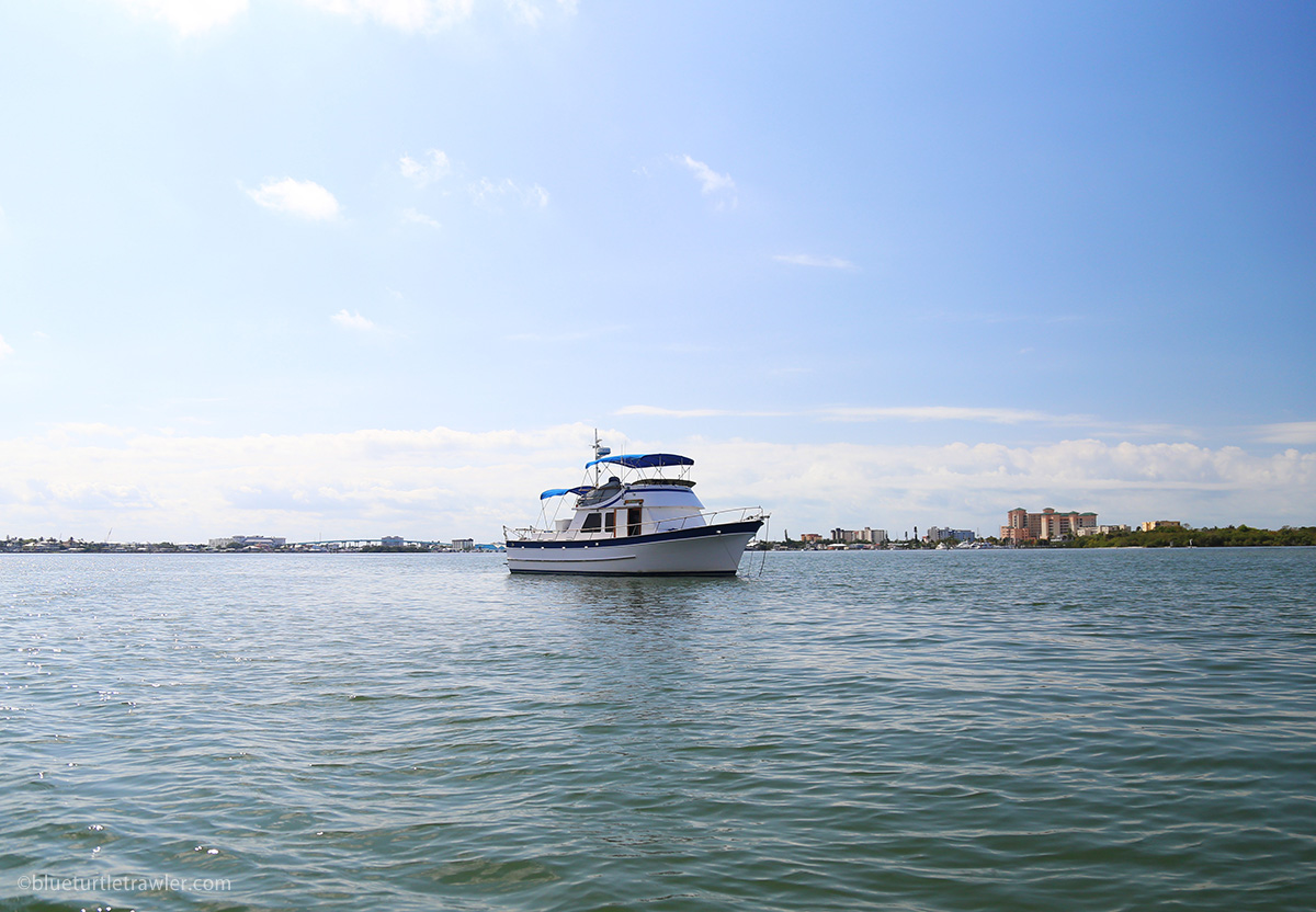 trawler anchored by fort myers beach